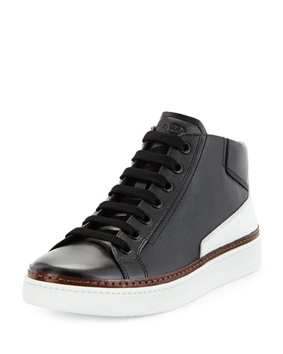 Prada Leather Mid-Top Sneaker