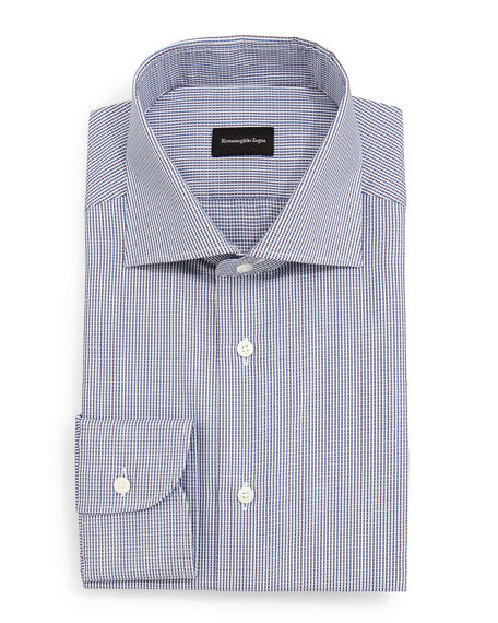 Ermenegildo Zegna Textured Micro-Check Dress Shirt