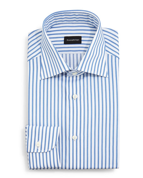 Ermenegildo Zegna Bold Striped Dress Shirt, Blue