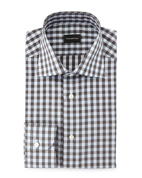 Ermenegildo Zegna Large Gingham Woven Dress Shirt, Light
