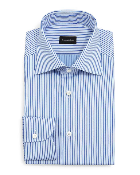 Ermenegildo Zegna Twill Rope Stripe Dress Shirt, Blue