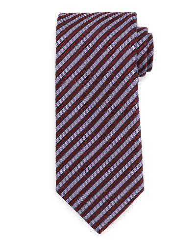 Textured Satin-Stripe Tie, Burgundy