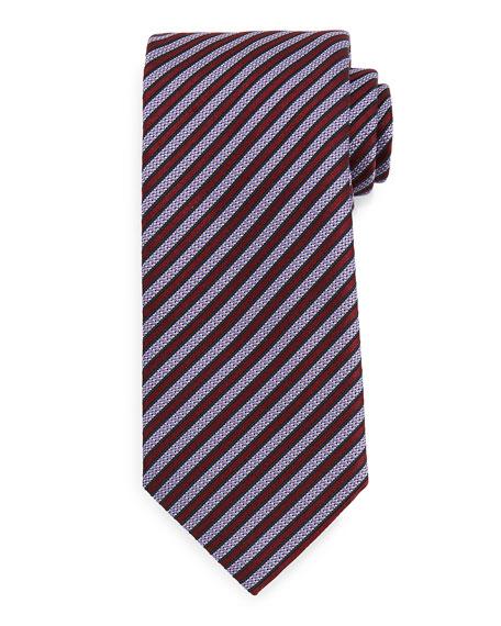 Ermenegildo Zegna Textured Satin-Stripe Tie, Burgundy