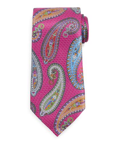 Quindici Placed Paisley Tie, Magenta