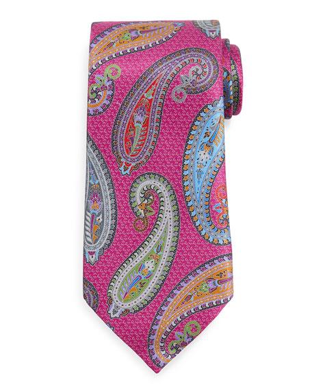 Ermenegildo Zegna Quindici Placed Paisley Tie, Magenta