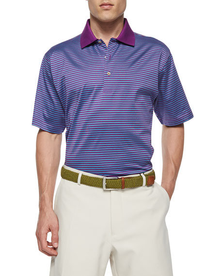 Peter Millar Classic Striped Lisle-Knit Polo Shirt, Purple