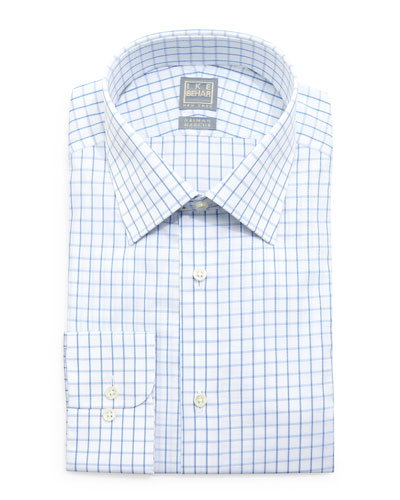 Check-Windowpane Woven Dress Shirt, White/Blue