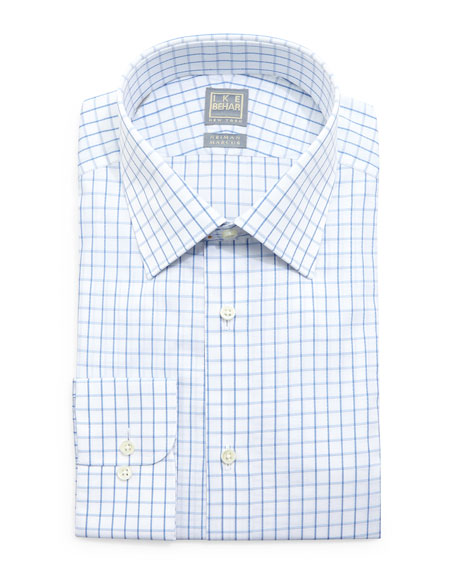 Ike Behar Check-Windowpane Woven Dress Shirt, White/Blue