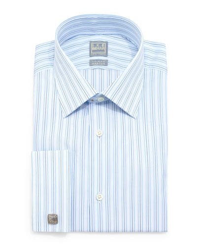 Striped Woven French-Cuff Dress Shirt, Blue