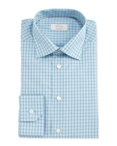 Contemporary-Fit Box-Check Dress Shirt, Aqua