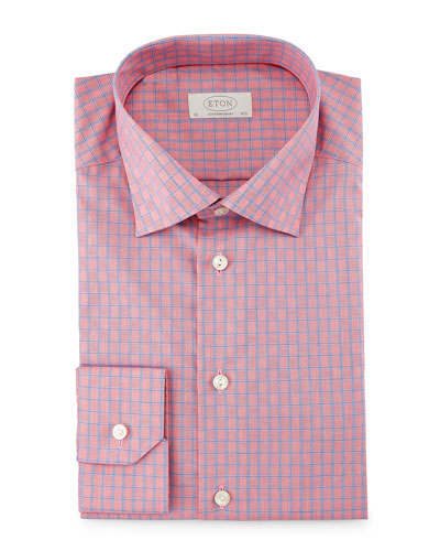 Contemporary-Fit Box-Check Dress Shirt, Red