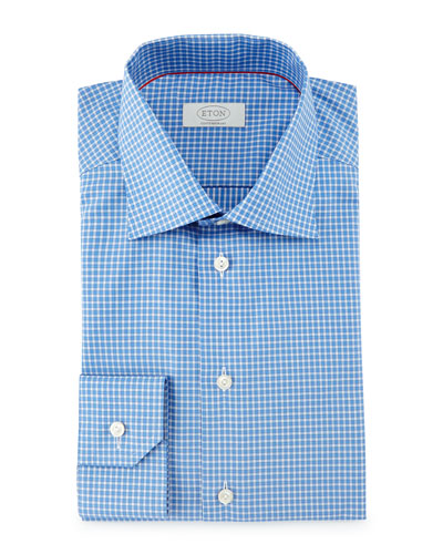 Contemporary-Fit Saturated Check Dress Shirt, Blue