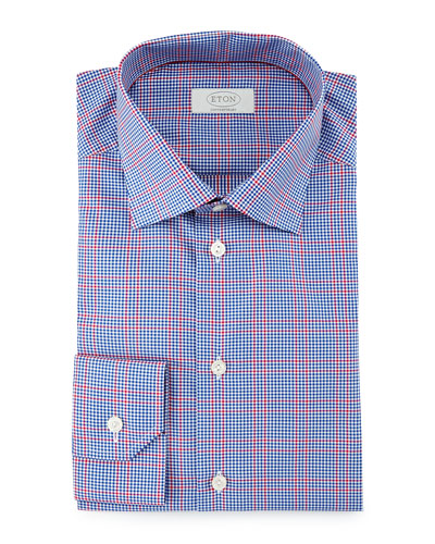 Contemporary-Fit Gingham-Windowpane Dress Shirt, Navy