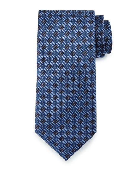 Brioni Textured Basketweave Silk Tie, Navy