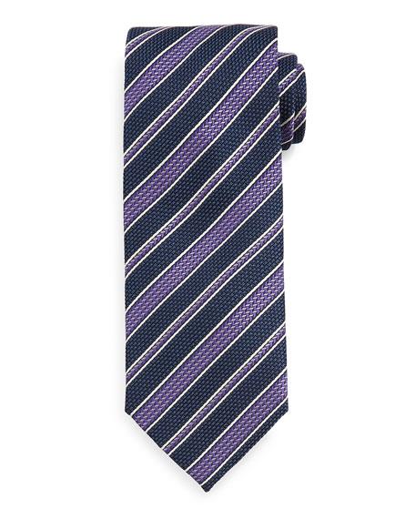 Brioni Grenadine Striped Tie, Blue