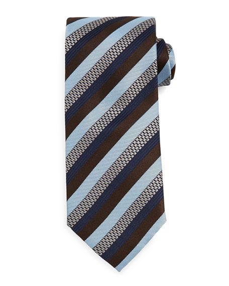 Brioni Textured Stripe Tie, Brown