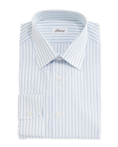 Satin-Stripe Woven Dress Shirt, White/Blue