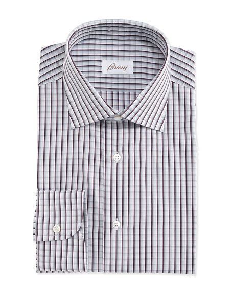 Brioni Shadow-Check Woven Dress Shirt, Gray/Blue