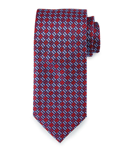 Textured Basketweave Silk Tie, Red