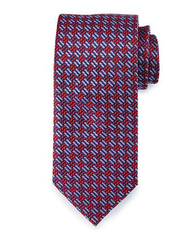 Textured Basketweave Silk Tie, Red