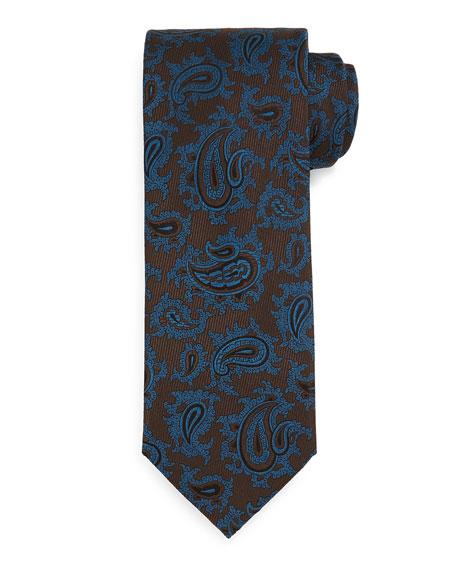 Brioni Woven Dark Paisley Tie, Blue
