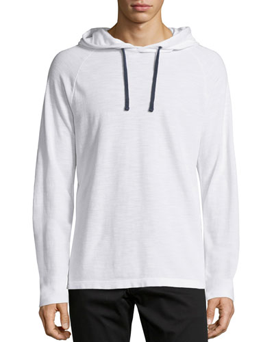 Long-Sleeve Pique Knit Hoodie, White