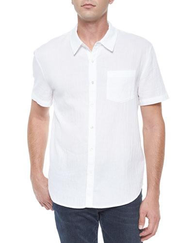 Short-Sleeve Button-Down Shirt, White