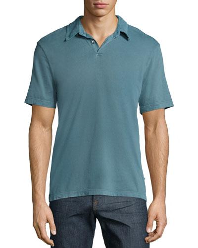 Short-Sleeve Cotton Polo Shirt, Turquoise