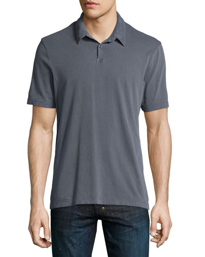 Short-Sleeve Jersey Polo Shirt, Dark Gray