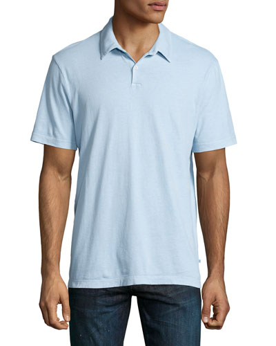 Short-Sleeve Jersey Polo Shirt, Pale Gray