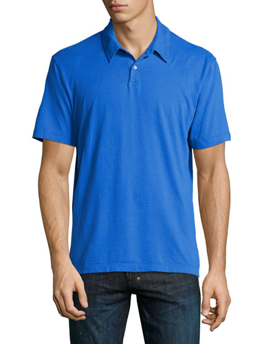 Short-Sleeve Jersey Polo Shirt, Blue