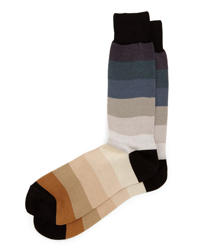 Rainbow Thick-Stripe Socks, Beige