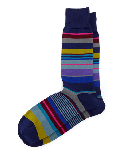 Bright Striped Socks, Navy