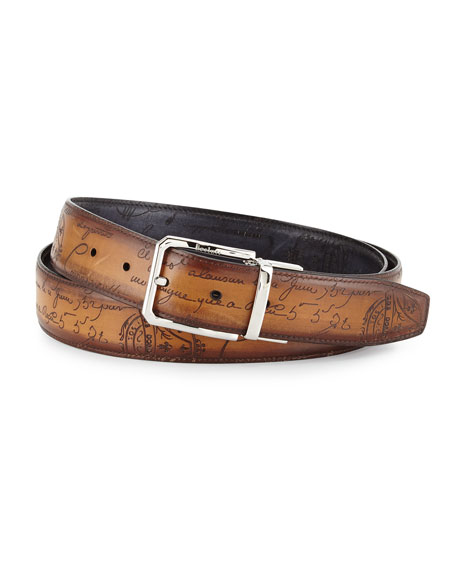 Berluti Reversible Scripto Leather Belt, Black/Brown