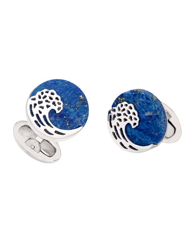 Lapis Wave Cuff Links, Blue
