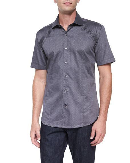 Bogosse Printed Short-Sleeve Woven Shirt, Gray Pattern