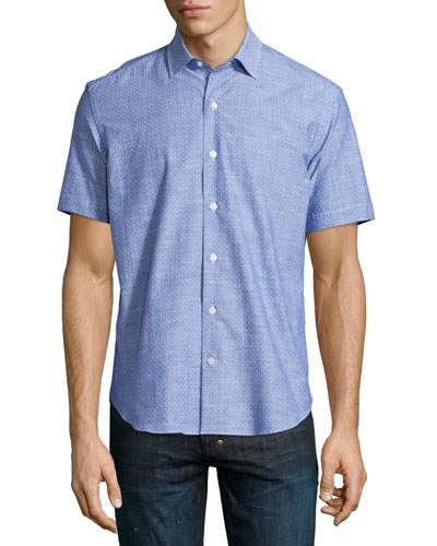 Dot-Print Short-Sleeve Shirt, Blue Pattern