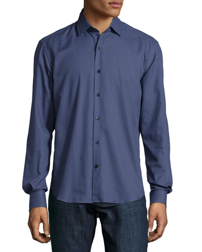 Geo-Print Long-Sleeve Shirt, Blue Pattern