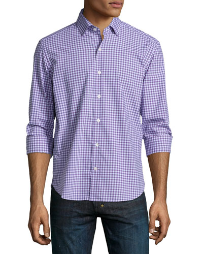 Check Long-Sleeve Woven Shirt, Lilac