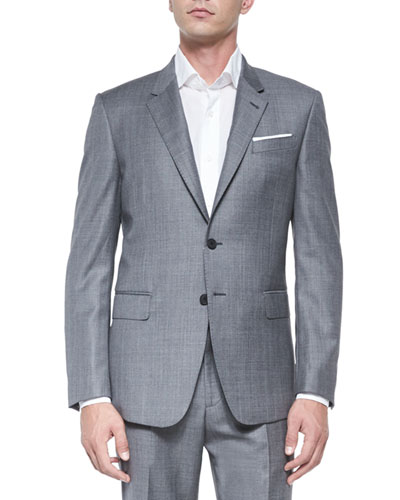 Bayard Sharkskin Two-Piece Wool Suit, Gray