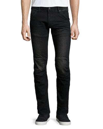 5620 3D Super-Slim Stretch Moto Jeans, Black