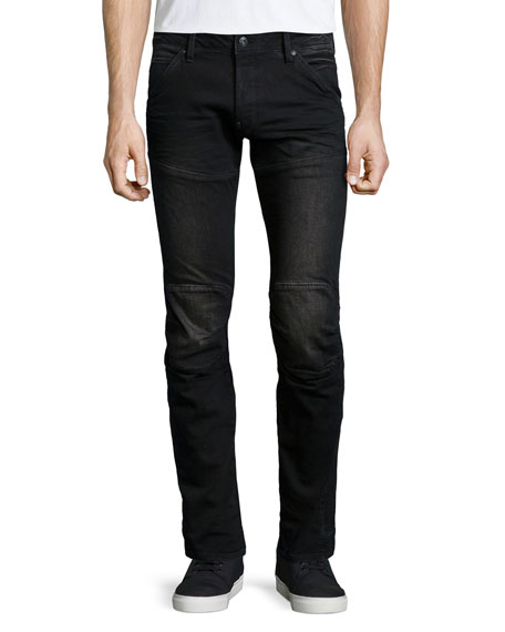 G-Star 5620 3D Super-Slim Stretch Moto Jeans, Black