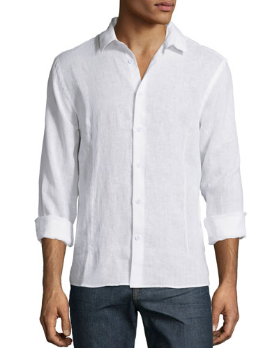 Solid Long-Sleeve Linen Shirt, White