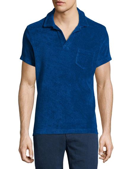 Orlebar brown terry towel short sleeve polo shirt blue for Terry cloth polo shirt