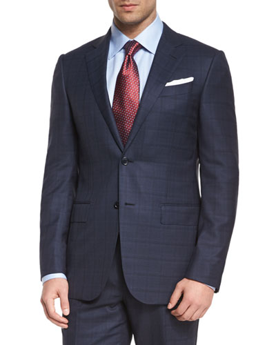 Milano Plaid Two-Piece Wool Suit, Blue