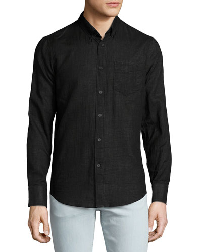 Tonal-Plaid Woven Sport Shirt, Black