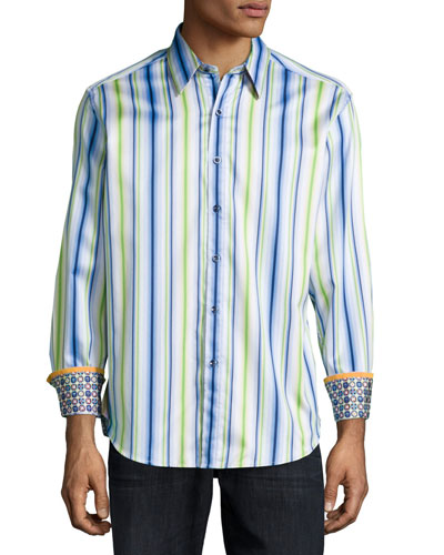 Satin-Striped Woven Sport Shirt, Blue
