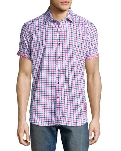 Mini-Check Short-Sleeve Woven Shirt, Bright Red