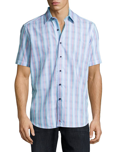 Mini-Stripe Short-Sleeve Woven Shirt, Blue