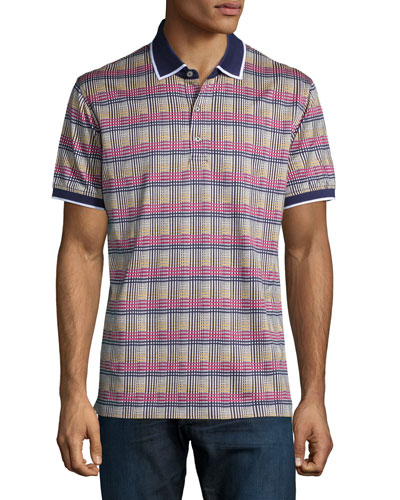 Multicolored Plaid Polo Shirt, Navy